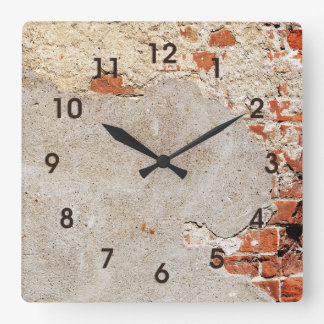 Exposed Brick and Mortar Square Wall Clock