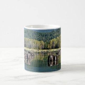 Exposed Tree Stumps on Lake Basic White Mug