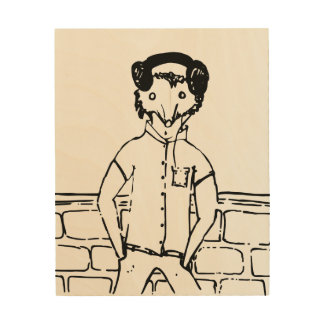 Exposed wooden mod-mouse art graphic print