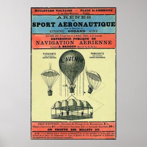 Exposición aeronáutica francesa del vintage póster
