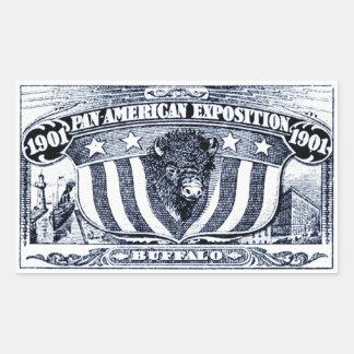 Exposición Cacerola-Americana 1901 Pegatina Rectangular