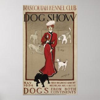 Exposición canina 1901 del club de la perrera de M Póster