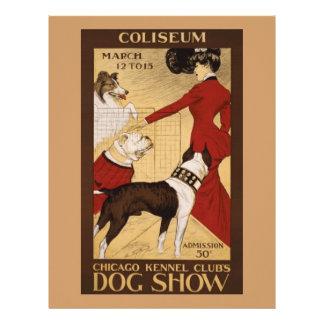 Exposición canina del vintage membrete a diseño