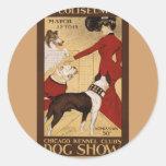 Exposición canina del vintage pegatina redonda