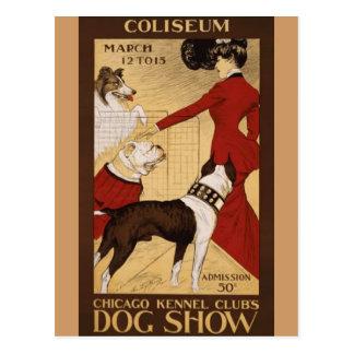 Exposición canina del vintage postal
