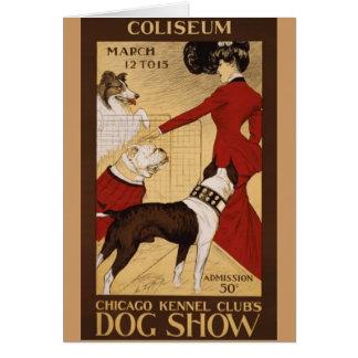 Exposición canina del vintage felicitacion