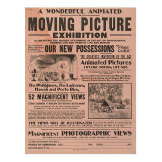 Exposición de la imagen en movimiento del vintage tarjetas postales