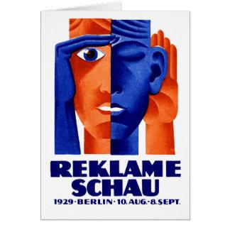 Exposición de la publicidad de 1929 alemanes tarjeta de felicitación