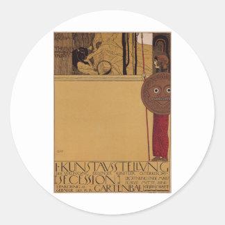 Exposición del ~ de Klimt primera de la secesión Pegatina Redonda