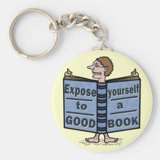 Exposición divertida usted mismo a un buen libro llavero personalizado