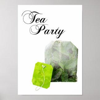 exposición doble de la fiesta del té póster