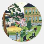 Exposición industrial por Utagawa, Hiroshige Pegatina Redonda