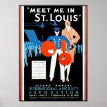 Exposición internacional de los aviones del vintag poster