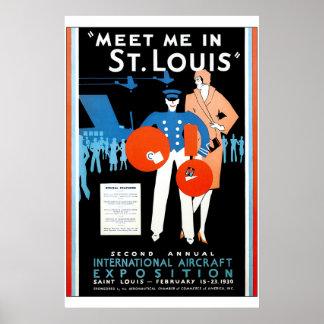 Exposición internacional de los aviones del vintag posters
