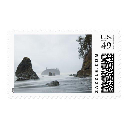 Exposición larga del movimiento de onda en la sellos