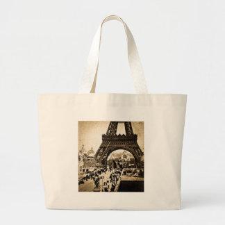 Exposición Universelle de París de la torre Eiffel Bolsa De Tela Grande