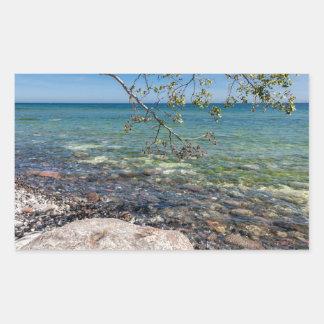 Expósito en la orilla del mar Báltico Pegatina Rectangular