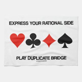 Exprese su puente lateral racional del duplicado toalla de mano