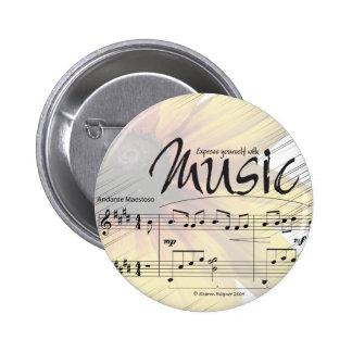 Exprésese con el botón de la música pin redondo de 2 pulgadas