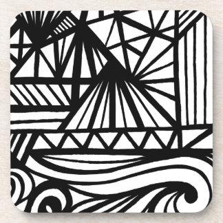 Expresión abstracta de Bigwood blanco y negro Posavaso