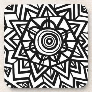 Expresión abstracta de Cezil blanco y negro Posavaso