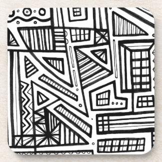 Expresión abstracta de Dirlam blanco y negro Posavasos