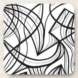 Expresión abstracta de Doorley blanco y negro Posavasos De Bebidas
