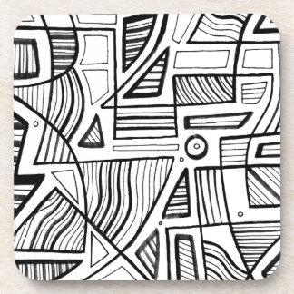 Expresión abstracta de Ewell blanco y negro Posavasos De Bebidas