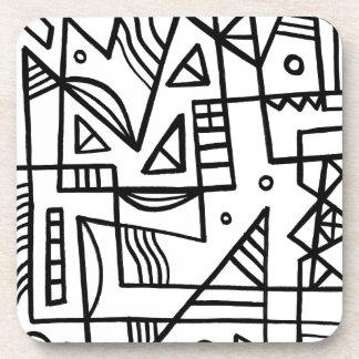 Expresión abstracta de Faivre blanco y negro Posavasos