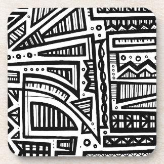Expresión abstracta de Gailis blanco y negro Posavaso