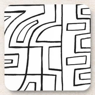 Expresión abstracta de Kaarlela blanco y negro Posavasos