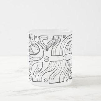 Expresión abstracta de Lajoy blanco y negro Taza Cristal Mate