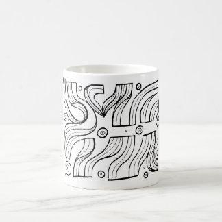 Expresión abstracta de Lajoy blanco y negro Taza Básica Blanca