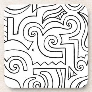 Expresión abstracta de Mastin blanco y negro Posavasos De Bebidas