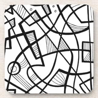 Expresión abstracta de Sarac blanco y negro Posavasos