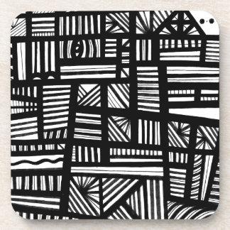 Expresión abstracta de Schwipps blanco y negro Posavasos De Bebida