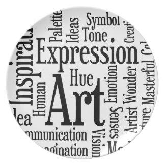 Expresión artística para el artista o la persona c plato