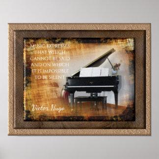 Expresión de la música -- Cita de Victor Hugo - Póster