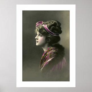 expresión esperanzada de la mujer del victorian póster