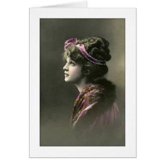 expresión esperanzada de la mujer del victorian tarjeta de felicitación