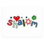 Expresión linda del texto del saludo de Shalom Tarjetas Postales