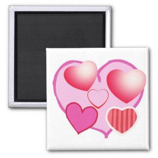 Expresión rosada del amor - corazones imán cuadrado