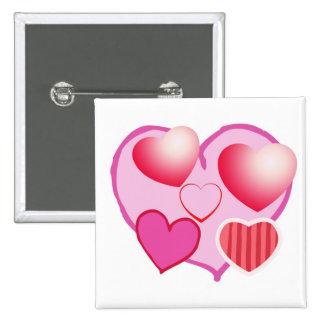 Expresión rosada del amor - corazones pin cuadrado