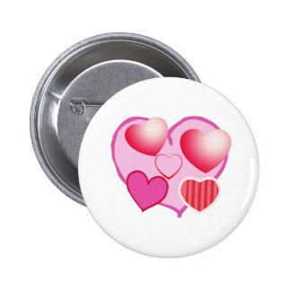 Expresión rosada del amor - corazones pin redondo de 2 pulgadas