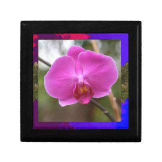 Expresión rosada del romance del amor de la flor joyero cuadrado pequeño