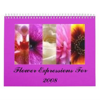 Expresiones de la flor para 2008 calendario de pared