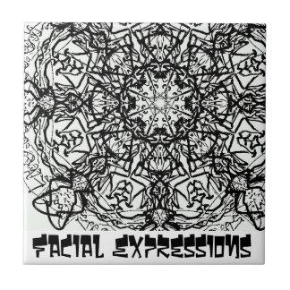 Expresiones faciales azulejo cuadrado pequeño