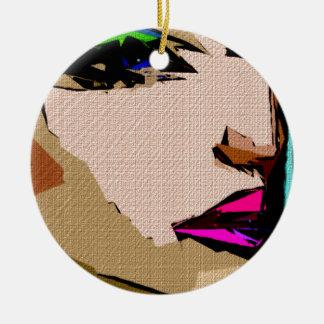 Expresiones femeninas 711 adorno navideño redondo de cerámica
