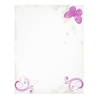 """Expresiones hermosas de la """"mariposa rosada elegan membrete a diseño"""