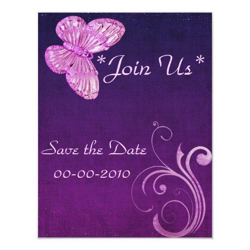 """Expresiones hermosas de la """"mariposa rosada invitación 4.25"""" x 5.5"""""""